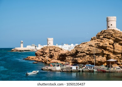 View of Al Ayjah town from the Khor Al Batah bridge in Sur, Sultanate of Oman