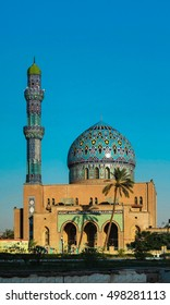 View to Al Fidos aka 17th ramadan mosque Mosque in Baghdad at sunset, Iraq
