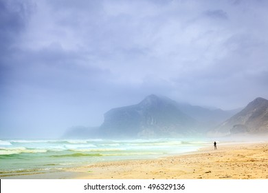 View of Al Mughsayl beach near Salalah, Oman during monsoon season
