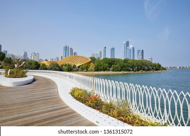 View of 'Al Noor' island with the skyline of Sharjah, United Arab Emirates