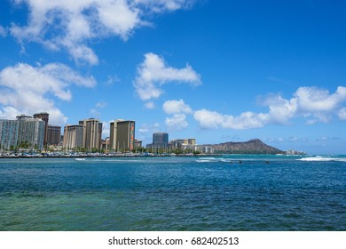 View from Ala Moana Beach, Diamond Head, Waikiki
