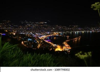 View of Alanya City, Turkey at night