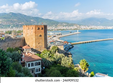 View of Alanya's port with the Kizil Kule (Red Tower)