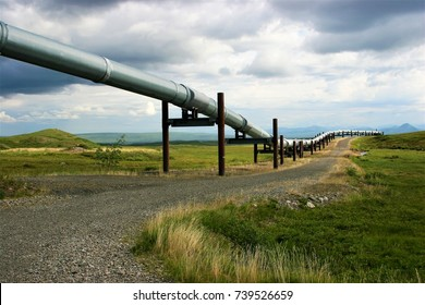 A view of the Alaska Pipeline from Prudhoe Bay in Alaska