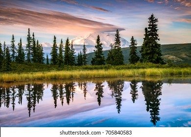 view of alaska's mount denali in distance and reflected in calm pond water