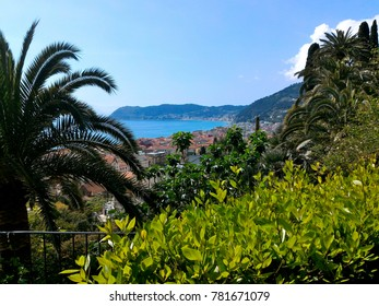View of Alassio town and Ligurian sea from a hill-top in Alassio, Savona province, Liguria region, Italy