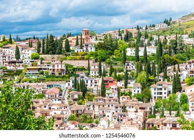 View of the Albaicin (El Albayzin) medieval district of Granada, Andalusia, Spain