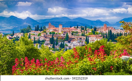 View of the Albaicin medieval district of  Granada, Andalusia, Spain.