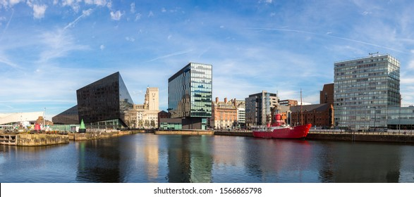 View of Albert Dock and Three Graces building in Liverpool in a beautiful summer day, England, United Kingdom