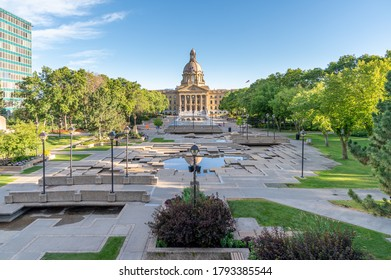 View of the Alberta Legislature in Edmonton in the early evening