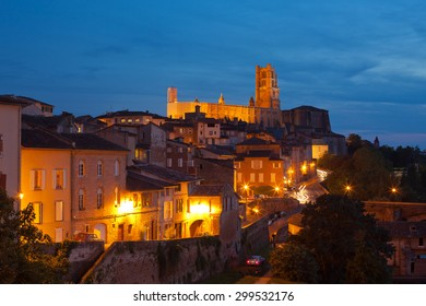 View of the Albi, France at night. Horizontal shot