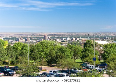 View of Albuquerque Downtown from its International airport also known as sunport