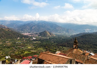 View of the Alcantara river valley and of Francavilla village from the Castelluccio of Castiglione di Sicilia, a village perched on the top of a hill not far from Taormina, Siclily. In 2017 Castiglion