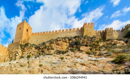 View of the Alcazaba in Almeria (Almeria Castle) on a beautiful day, Spain, Europe