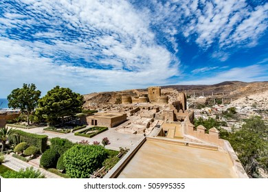 View of the Alcazaba in Almeria (Almeria Castle) on a beautiful day, horizontal, Spain