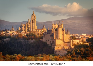 View of the Alcazar and Cathedral of Segovia.The Alcazar is a medieval stone fortification and the cathedral is the last Gothic cathedral built in Spain, community of Castille and Leon