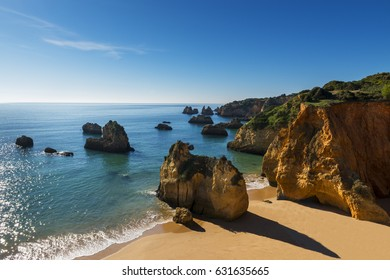 View of the Alemao Beach (Praia do Alemao) in Portimao, Algarve, Portugal; Concept for travel in Portugal and Algarve