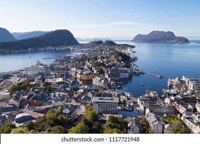 View of Alesund and its Islands from the top of the mount Aksla, More og Romsdal, Norway.