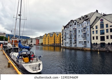 View of Alesund town and port, More og Romsdal , on the west coast of Norway, at the entrance to the Geirangerfjord,  renowned for its beautiful Art Nouveau buildings.