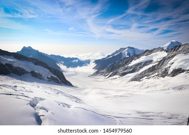 View of the Aletsch Glacier from the top of Jungfraujoch