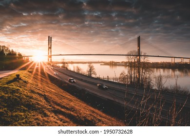 A view of the Alex Fraser Bridge from North Delta BC