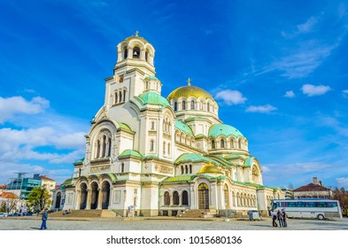 View of the Alexander Nevski cathedral in Sofia, Bulgaria.