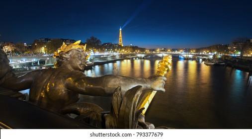 View of Alexandre 3 bridge details in Paris, France