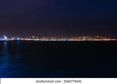View of Algiers at night from Sablette , Algeria - january 01, 2018
