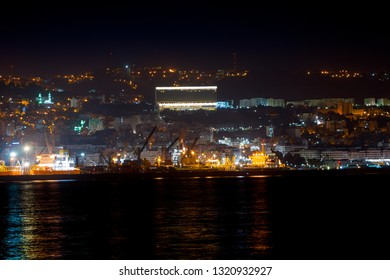 View of Algiers at night from Sablette , Algeria - February 22, 2019