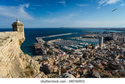 View of Alicante, Spain and Mediterranean Sea from Santa Barbara Castle