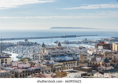 View of Alicante with yacht marine port from Santa Barbara castle, Costa Blanca, Spain