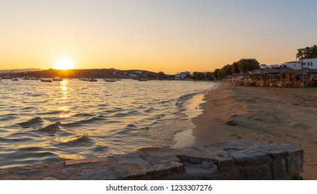View of Aliki beach at sunset - Cyclades island - Aegean sea - Aliki Paros - Greece