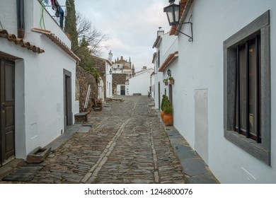 View of an alley in the historic village, in Monsaraz, Portugal
