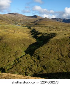 View up Allt a Choire Chais to Ski centre and Cairn Gorm Sumit Cairngorm Mountains, Scotland