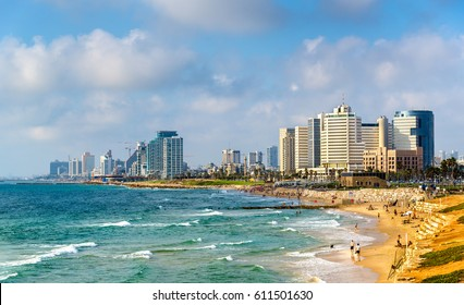 View of Alma Beach on the Mediterranean waterfront in Tel Aviv - Israel