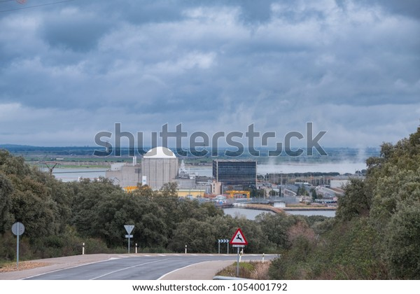 View of the Almaraz nuclear power plant, in Extremadura. Spain