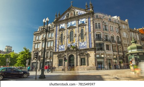 View of the Almeida Garret Square near the Sao Bento railway station with Congregados Church at the front, Porto, Portugal.