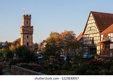 """View of the """"Almosenturm"""" a famoues building in Obernburg am Main"""