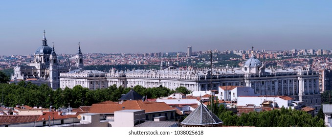 View of the Almudena Cathedral and the Royal Palace of Madrid. Spain