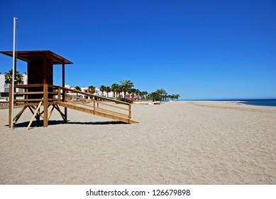 View along the beach, Carboneras, Almeria Province, Costa Almeria, Andalusia, Spain, Western Europe.