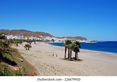 View along the beach and coastline, Carboneras, Almeria Province, Costa Almeria, Andalusia, Spain, Western Europe.