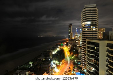 View along the beach at Southport Gold Coast Australia at night