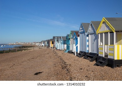 View along the beach from Thorpe Bay to Southend-on-Sea, Essex, England