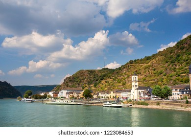 View along the beautiful Rhine River in Germany with the Village of Sankt Goar in view