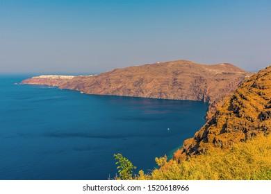 A view along the Caldera rim in Santorini in summertime