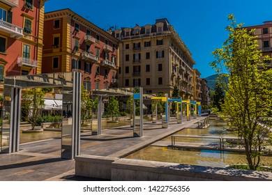 A view along the centre of the Piazza Giuseppe Verdi in La Spezia, Italy in summer