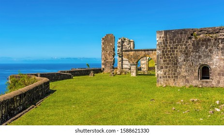 A view along the edge of Brimstone Hill Fort in St Kitts