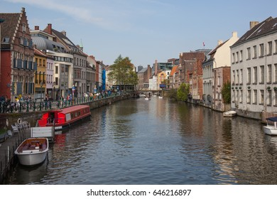 View along the embankment of Leie river in historic part of Ghent, Belgium
