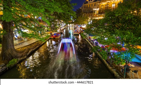 View along the famous River Walk at Night in San Antonio, Texas