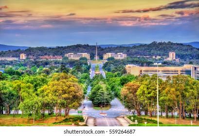 View along Kings Avenue towards the Australian-American Memorial in Canberra - Australian Capital Territory